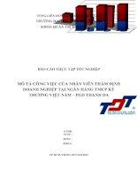 Mô tả công việc của nhân viên thẩm định doanh nghiệp tại Vietinbank
