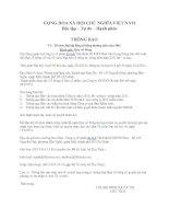 Thông báo Tổ chức Đại hội đồng cổ đông thường niên năm 2011
