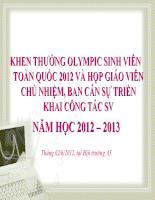 Khen thưởng Olympic sinh viên toàn quốc 2012 và họp báo viên chủ nhiệm,ban cán sự triển khai công tác sinh viên