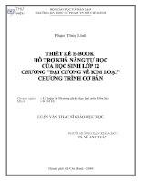 Thiết kế e-book hỗ trợ khả năng tự học của học sinh lớp 12 chương `Đại cương về Kim loại` chương trình cơ bản