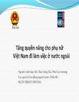 Tăng quyền năng cho phụ nữ Việt nam đi làm việc ở nước ngoài