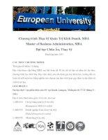 Chương trình Thạc Sỹ Quản Trị Kinh Doanh, MBA Master of Business Administration, MBA Đại học Châu Âu, Thụy Sỹ