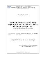 Thiết kế website hổ trợ việc kiểm tra đánh giá môn hóa học lớp 10 (chương trình nâng cao)