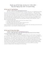 Danh mục đề tài luận văn học kì I 2011-2012 Bộ môn mạng máy tính và truyền thông