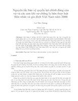 Nguyên tắc bảo vệ quyền lợi chính đáng của  vợ và các con khi vợ chồng ly hôn theo luật  Hôn nhân và gia đình Việt Nam năm 2000