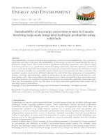 Sustainability of an energy conversion system in Canada involving large-scale integrated hydrogen production using solid fuels