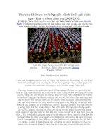 Thư của Chủ tịch nước Nguyễn Minh Triết gửi nhân ngày khai trường năm học 2009- 2010