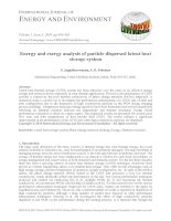 Energy and exergy analysis of particle dispersed latent heat storage system
