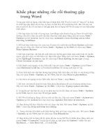 KHẮC PHỤC LỖI TRONG WORD