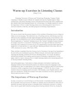 Warm-up Exercises in Listening Classes