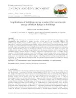 Implications of building energy standard for sustainable energy efficient design in buildings