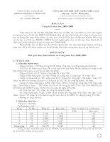 Báo cáo Tổng kết năm học 2008 - 2009