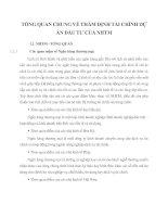 TỔNG QUAN CHUNG VỀ THẨM ĐỊNH TÀI CHÍNH DỰ ÁN ĐẦU TƯ CỦA NHTM