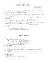Đề thi lớp 7kỳ 2 -đáp án