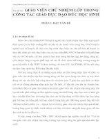 GIÁO VIÊN CHỦ NHIỆM LỚP TRONG CÔNG TÁC GIÁO DỤC ĐẠO ĐỨC HỌC SINH