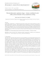Thermodynamic analysis of gas – steam combined cycle with carbon dioxide (CO2) emissions saving