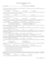 ĐỀ KIỂM TRA 1 TIẾT (CHƯƠNG I - ĐỘNG LỰC HỌC VẬT RẮN)