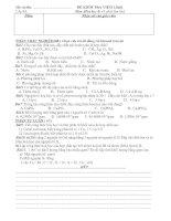 đề thi HK1 hóa 8 lần 1 có đáp án