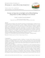Energy savings due to daylight and artificial lighting integration in office buildings in hot climate