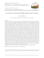 An overview of future sustainable nuclear power reactors