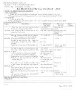 Kế hoạch hoạt động tổ Toán lý tháng 8