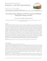 Increasing energy efficiency of HVAC systems of buildings using phase change material