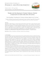 Design and development of major balance of plant components in solid oxide fuel cell system