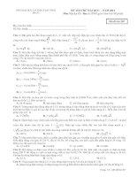 ĐỀ THI THỬ ĐẠI HỌC – NĂM 2012   Môn Vật Lý 12 - Ban A SỞ GIÁO DỤC VÀ ĐÀO TẠO VĨNH PHÚC