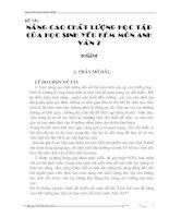 SKKN - Nâng cao chất lượng học tập của HS yếu kém môn Anh văn 7