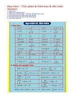 Đạo hàm - Tích phân & Hình học & Nhị thức Newton