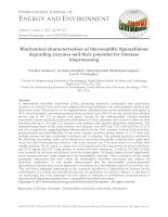 Biochemical characterization of thermophilic lignocellulose degrading enzymes and their potential for biomass bioprocessing