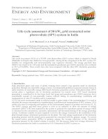 Life cycle assessment of 50 kWp grid connected solar photovoltaic (SPV) system in India