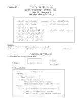 Chuyên đề Phương trình và Bất phương trình