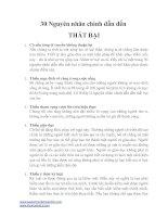 30 nguyên nhân chính dẫn đến thất bại - Napoleon Hill