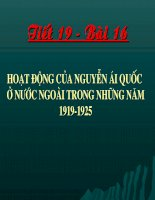 Tiết 19: Hoạt động của Nguyễn Ái Quốc ở nước ngoài trong những năm 1919-1925