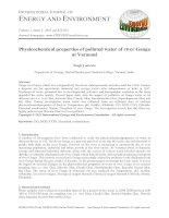 Physicochemical properties of polluted water of river Ganga at Varanasi