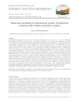 Dispersion modeling in assessing air quality of industrial projects under Indian regulatory regime
