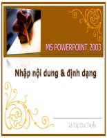 MS PowerPoint 2003 - Thiết kế giáo án điện tử - Bài 2: Nhập nội dung định dạng