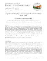 Experimental investigation of exergy destruction in a 8-kW power plant