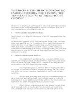 Vai trò của bí thư chi bộ trong công tác lãnh đạo cuộc vần động Học tập và làm theo...