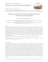 Integration of energy and environmental systems in wastewater treatment plants