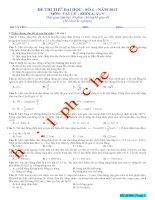ĐỀ THI THỬ ĐẠI HỌC SỐ 4 NĂM 2012 MÔN VẬT LÝ KHỐI A, A1, V