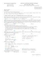ĐỀ THI TUYỂN SINH ĐẠI HỌC NĂM 2012 Môn: HOÁ HỌC; Khối A mã đề  384