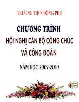 CHƯƠNG TRÌNH HỘI NGHỊ CÔNG CHỨC NĂM HỌC 2009-2010 TRƯỜNG THCS ĐÔNG PHÚ, ĐÔNG SƠN