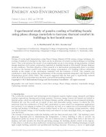 Experimental study of passive cooling of building facade using phase change materials to increase thermal comfort in buildings in hot humid areas