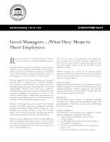 Good Managers. . .What They Mean to Their Employees