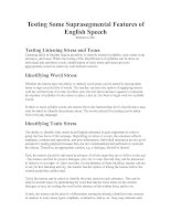 Testing Some Suprasegmental Features of English Speech