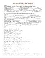 BÀI TẬP BỔ TRỢ TIẾNG ANH 7 - Phần 2