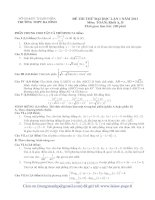 ĐỀ THI THỬ ĐẠI HỌC LẦN 1 NĂM 2013 Môn: TOÁN; Khối A, B TRƯỜNG THPT BA ĐÌNH