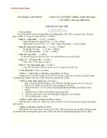 ND thi Tiếng Anh Tiểu học 10-11
